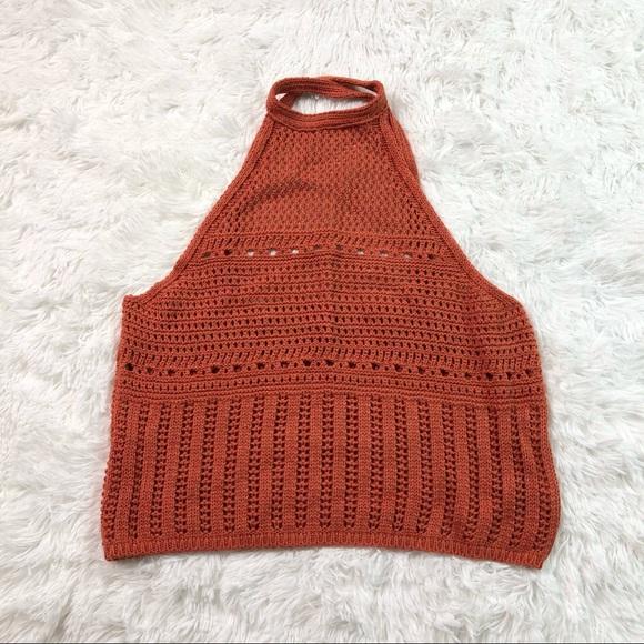 Asos Design Crochet Top Crop Halter Orange Rust 4